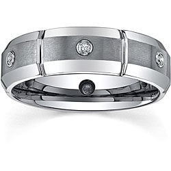 tungsten mens 16ct tdw diamond dual finished band 7 mm - Tungsten Mens Wedding Rings