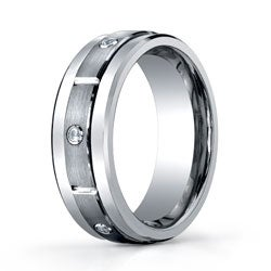 Men's Tungsten 1/6ct TDW Diamond Satin Spinner Band  (8 mm) - Thumbnail 1