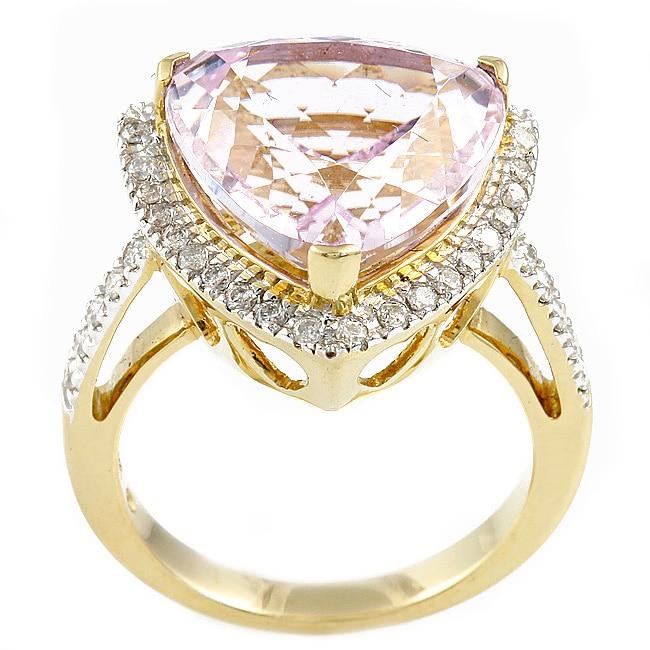 Beverly Hills Charm 14k Yellow Gold Kunzite and 1/2ct TDW Diamond Ring