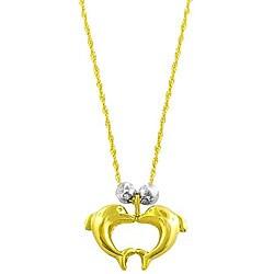 Fremada 14k Two Tone Gold Singapore Double Dolphin Necklace