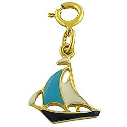 Fremada 14k Yellow Gold Enamel Sailboat Charm