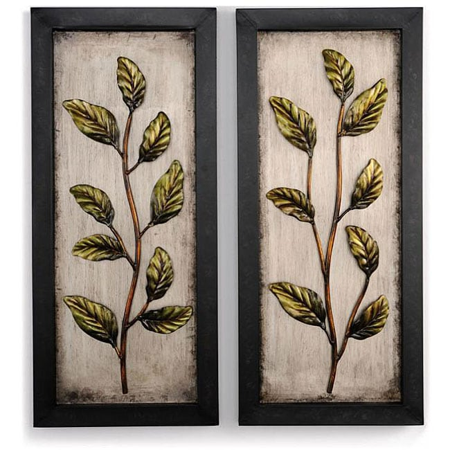 shop metal leaf 14 5 x 32 wall art set of 2 free shipping today 4587645. Black Bedroom Furniture Sets. Home Design Ideas