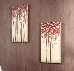 Wood Crafted Tree 12x24-inch Wall Art (Set of 2)