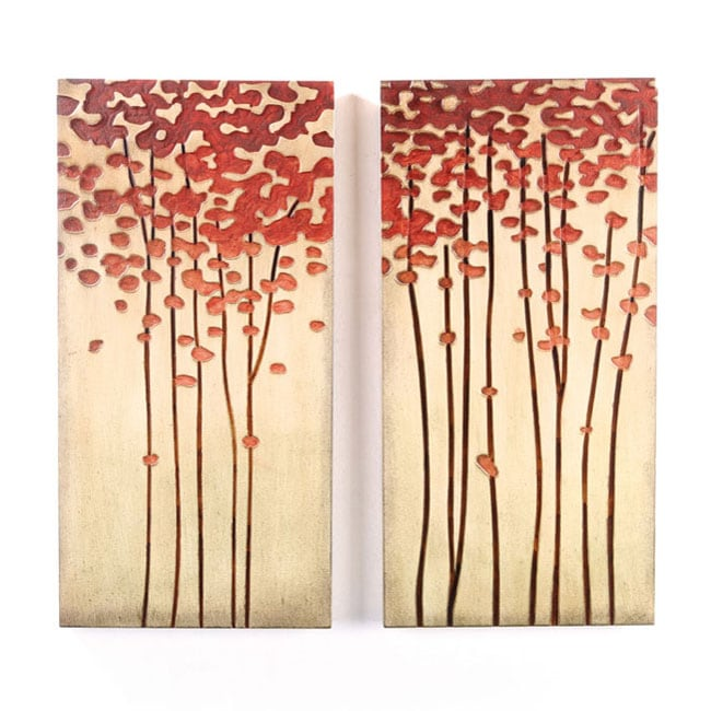 wood crafted tree 12x24 inch wall art set of 2 free. Black Bedroom Furniture Sets. Home Design Ideas