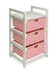 Pink Dot 3-Drawer Fabric/Wood/Metal Hamper and Storage Unit - Thumbnail 1