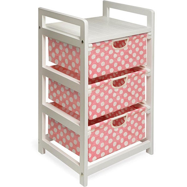 Pink Dot 3-Drawer Fabric/Wood/Metal Hamper and Storage Unit