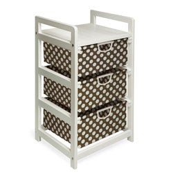 Brown Dot Three Drawer Hamper and Storage Unit