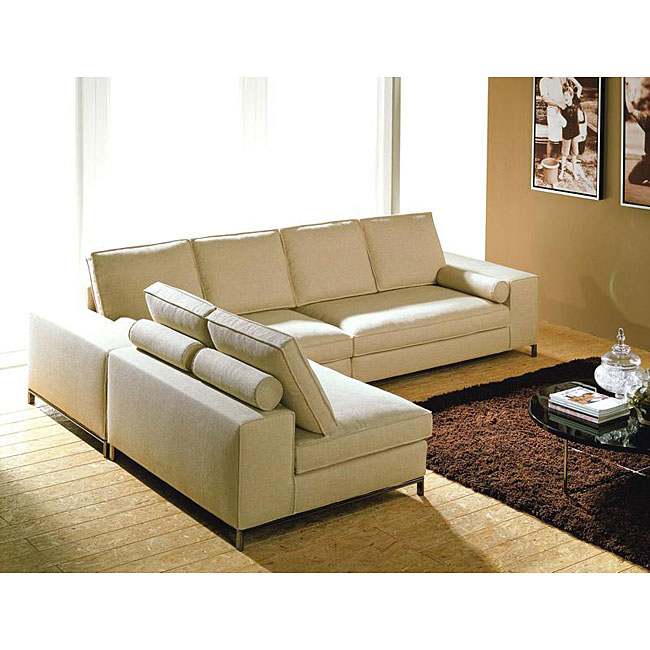 Modular Contemporary 3 Piece Sectional Cream Sofa Free