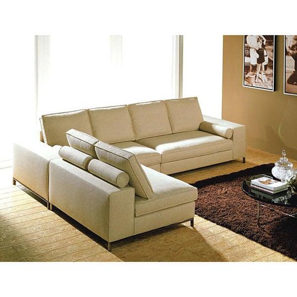Modular Contemporary 3-piece Sectional Cream Sofa