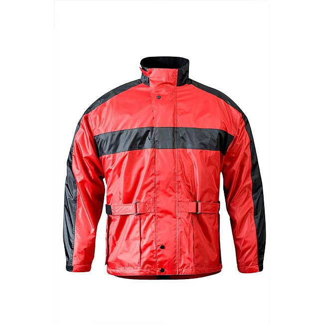RX 2 Men's Red and Black Waterproof Nylon Motorcycle Rain Jacket