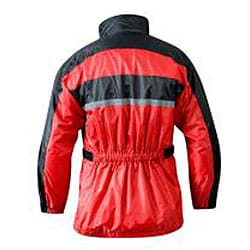 RX 2 Men's Red and Black Waterproof Nylon Motorcycle Rain Jacket - Thumbnail 1
