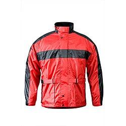 RX 2 Men's Red and Black Waterproof Nylon Motorcycle Rain Jacket - Thumbnail 0