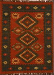 Hand-woven Red Wool/ Jute Rug (5' x 8') - Thumbnail 1