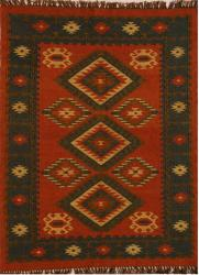 Hand-woven Red Wool/ Jute Rug (5' x 8') - Thumbnail 2