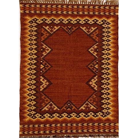 Hand-woven Wool and Jute Rug (4' x 6') - 4' x 6'