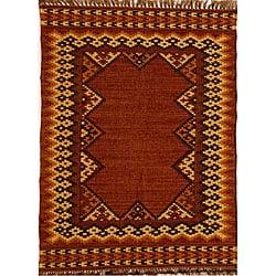 Hand-woven Wool and Jute Rug (5' x 8') - Thumbnail 0