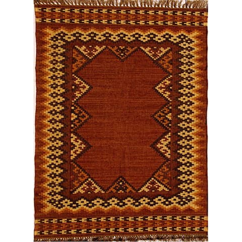 Hand-woven Wool and Jute Rug (8' x 10'6) - 8' x 10'6