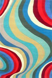 Hand-tufted Waves Wool Rug (8' x 11') - Thumbnail 1