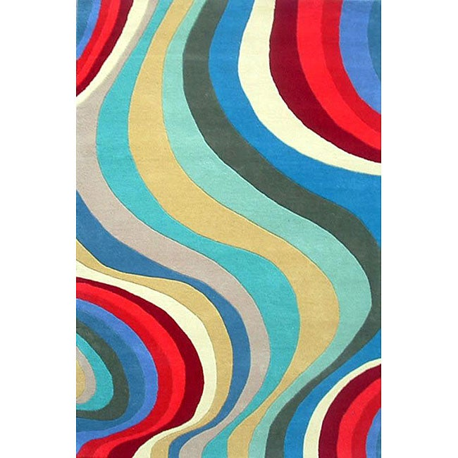 Hand-tufted Waves Wool Rug - 8' x 11'