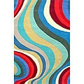 Hand-tufted Waves Wool Rug - 8' x 11'