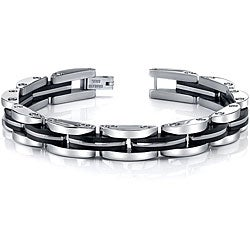 Two-tone Stainless Steel Men's Link Bracelet