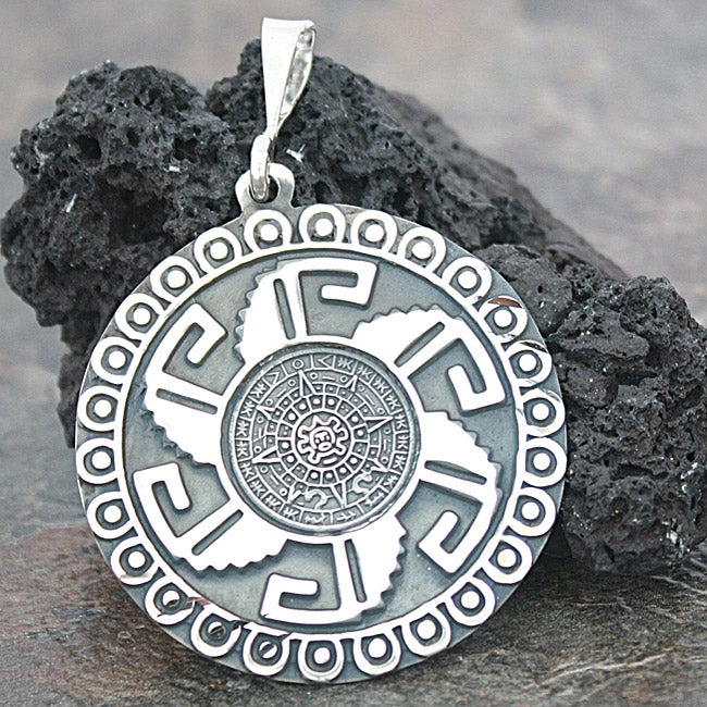 Sterling Silver Large Aztec Calendar Pendant (Mexico)