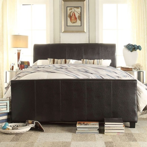 Tuscany Villa Dark Brown Upholstered King-size Sleigh Bed