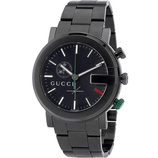 0a6727d228a Shop Gucci 101G Men s YA101331 Round PVD-coated Steel Watch - Free Shipping  Today - Overstock - 4599531