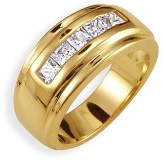 Yellow Gold Overlay Mens Channel Set Cubic