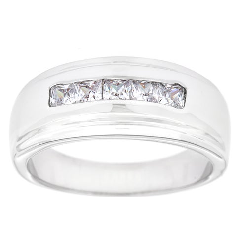 Simon Frank Designs 1.01ct. TDW 5-Stone White Gold Overlay Men's Channel Set CZ Band