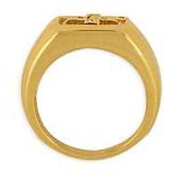 Simon Frank 14k Gold Overlay Men's Cubic Zirconia Gospel Ring - Thumbnail 1