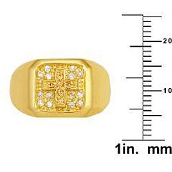 Simon Frank 14k Gold Overlay Men's Cubic Zirconia Gospel Ring - Thumbnail 2
