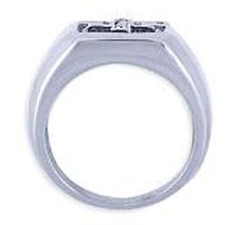 Simon Frank 14k White Gold Overlay Men's Cubic Zirconia Gospel Ring - Thumbnail 1