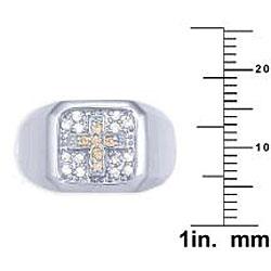 Simon Frank 14k White Gold Overlay Men's Cubic Zirconia Gospel Ring - Thumbnail 2
