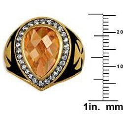 Simon Frank 14k Gold Overlay Men's CZ and Enamel Brotherhood Ring