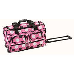 Rockland 22-inch Polka Dot Carry On Rolling Upright Duffel Bag - Thumbnail 1