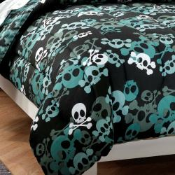 Skulls 7-piece Full-size Bed in a Bag with Sheet Set - Thumbnail 1