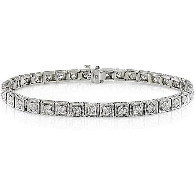 Miadora 14k White Gold 3 5/8ct TDW Diamond Tennis Bracelet