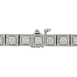 Miadora 14k White Gold 3 5/8ct TDW Diamond Tennis Bracelet - Thumbnail 1