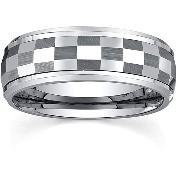 Men's Tungsten Checkerboard Spinner Band (8 mm)