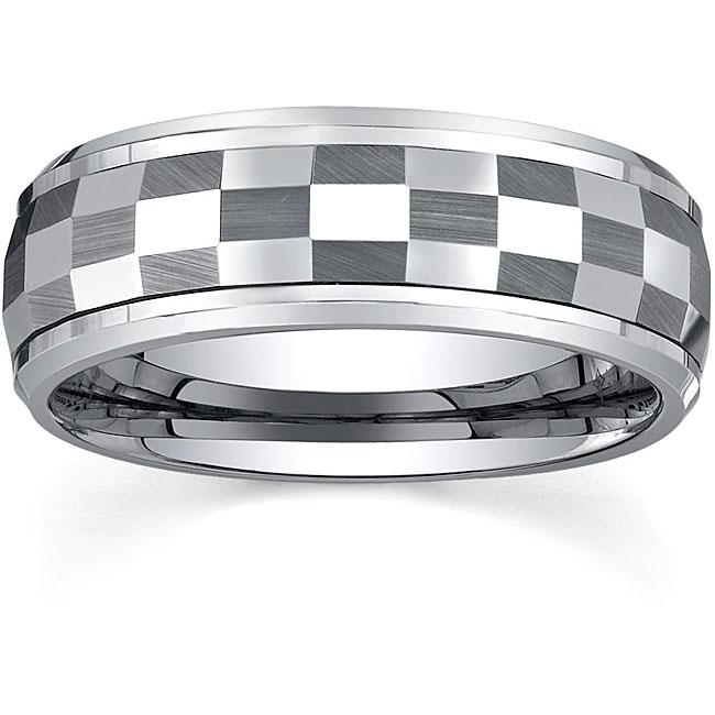 Men's Tungsten Checkerboard Spinner Band (8 mm)
