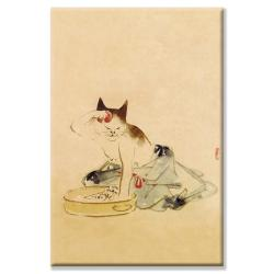 'Japanese Cat Bathing' Gallery-wrapped Canvas Art - Thumbnail 1