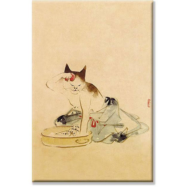 'Japanese Cat Bathing' Gallery-wrapped Canvas Art
