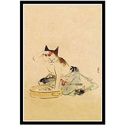 'Japanese Cat Bathing' Framed Art Print