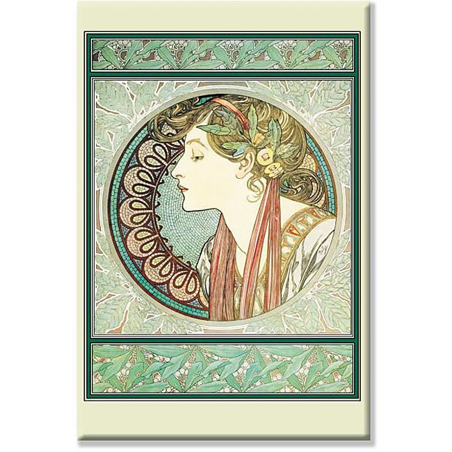 Alphonse Mucha 'A Woman's Profile' Gallery-wrapped Canvas Art