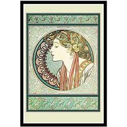 Alphonse Mucha 'A Woman's Profile' Framed Art Print
