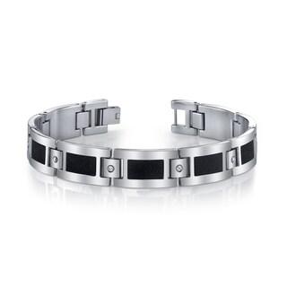 Stainless Steel Men's CZ and Black 'Diamond Brite' Bracelet