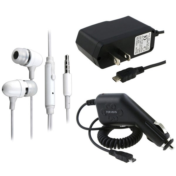INSTEN White Headset/ AC Home/ Car Chargers for LG vx8560 / vx9700