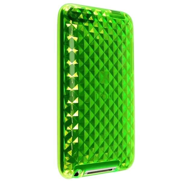INSTEN Clear Green Diamond TPU Rubber iPod Case Cover for iPod Touch Gen 2/ 3