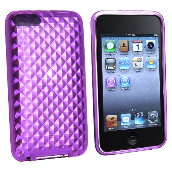 INSTEN Clear Purple Diamond TPU Rubber iPod Case Cover for iPod Touch Gen 3